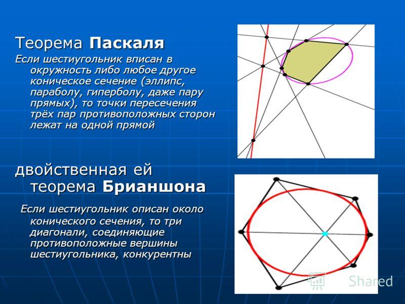 Теорема Паскаля Если шестиугольник вписан в окружность либо любое другое коническое сечение (эллипс, параболу, гиперболу, даже пару прямых), то точки пересечения трёх пар противоположных сторон лежат на одной прямой двойственная ей теорема Брианшона