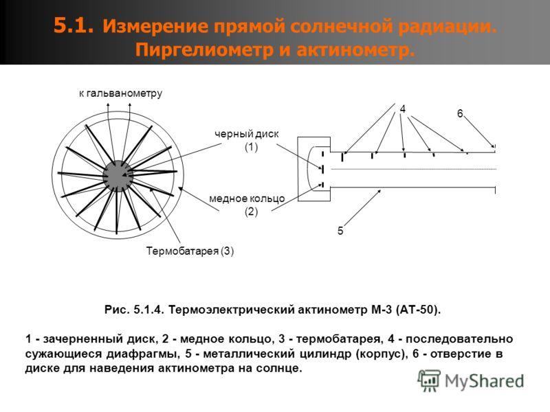 5.1. Измерение прямой солнечной радиации. Пиргелиометр и актинометр. Рис. 5.1.4. Термоэлектрический актинометр М-3 (АТ-50). 1 - зачерненный диск, 2 - медное кольцо, 3 - термобатарея, 4 - последовательно сужающиеся диафрагмы, 5 - металлический цилиндр