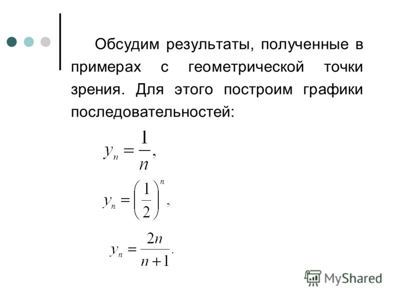 Обсудим результаты, полученные в примерах с геометрической точки зрения. Для этого построим графики последовательностей: