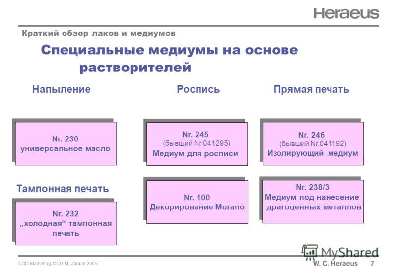 CCD-Marketing, CCD-M, Januar 2005 Специальные медиумы на основе растворителей Краткий обзор лаков и медиумов Nr. 245 (бывший Nr.041295) Медиум для росписи Nr. 245 (бывший Nr.041295) Медиум для росписи Nr. 246 (бывший Nr.041192) Изолирующий медиум Nr.