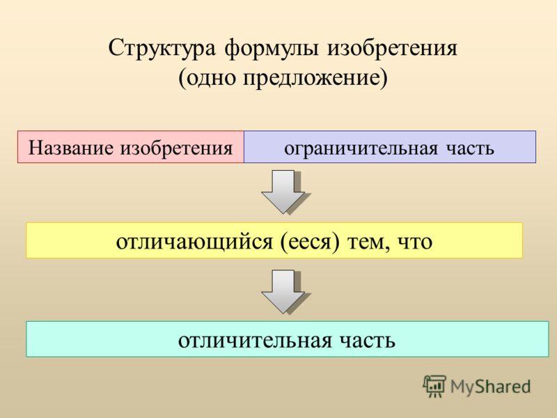 Структура формулы изобретения (одно предложение) Название изобретенияограничительная часть отличающийся (ееся) тем, что отличительная часть