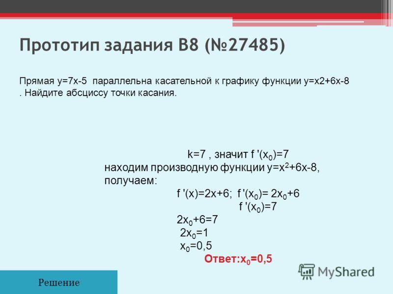 Прототип задания B8 (27485) Решение Прямая y=7x-5 параллельна касательной к графику функции y=x2+6x-8. Найдите абсциссу точки касания. k=7, значит f '(x 0 )=7 находим производную функции y=x 2 +6x-8, получаем: f '(x)=2x+6; f '(x 0 )= 2x 0 +6 f '(x 0