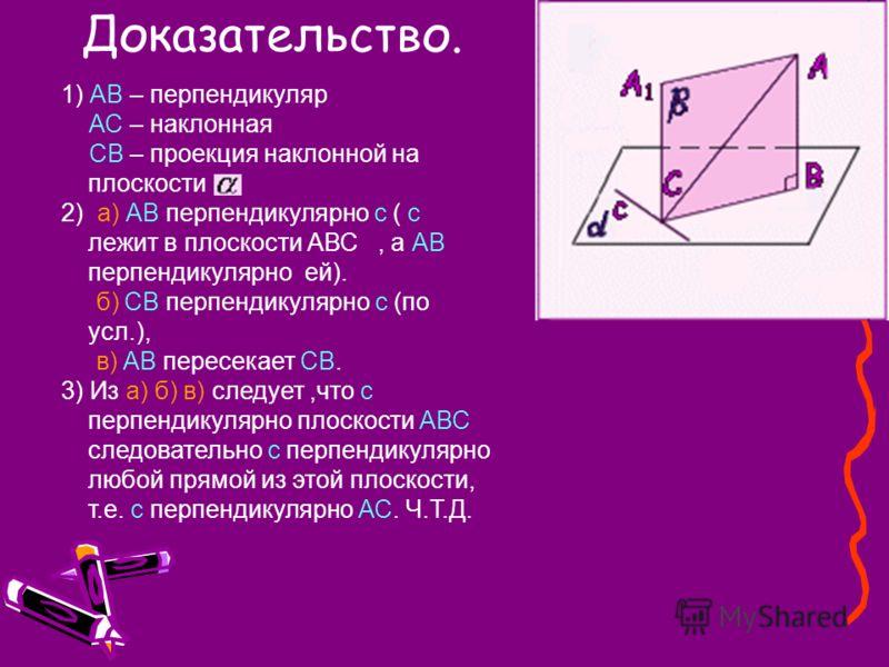 1) АВ – перпендикуляр АС – наклонная СВ – проекция наклонной на плоскости 2) а) АВ перпендикулярно с ( с лежит в плоскости АВС, а АВ перпендикулярно ей). б) СВ перпендикулярно с (по усл.), в) АВ пересекает СВ. 3) Из а) б) в) следует,что с перпендикул