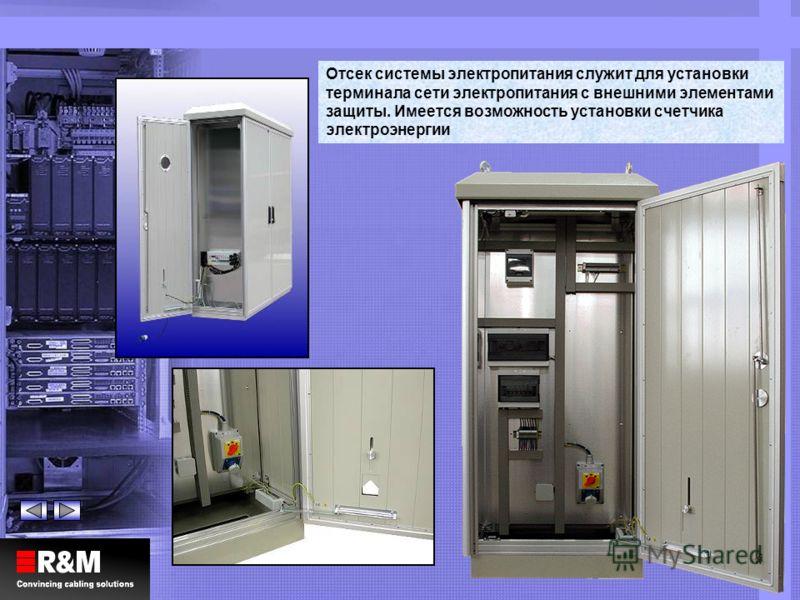 Отсек системы электропитания служит для установки терминала сети электропитания с внешними элементами защиты. Имеется возможность установки счетчика электроэнергии