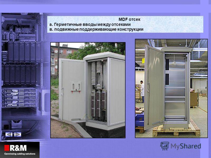 MDF отсек a. Герметичные вводы между отсеками в. подвижные поддерживающие конструкции