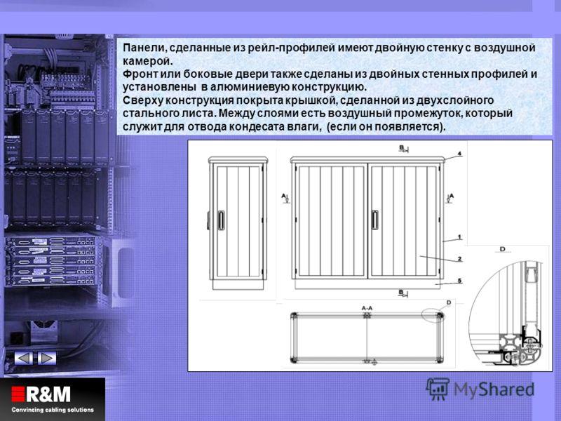 Панели, сделанные из рейл-профилей имеют двойную стенку с воздушной камерой. Фронт или боковые двери также сделаны из двойных стенных профилей и установлены в алюминиевую конструкцию. Сверху конструкция покрыта крышкой, сделанной из двухслойного стал