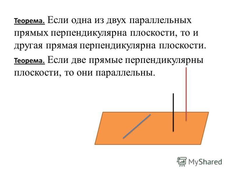Теорема. Если одна из двух параллельных прямых перпендикулярна плоскости, то и другая прямая перпендикулярна плоскости. Теорема. Если две прямые перпендикулярны плоскости, то они параллельны.