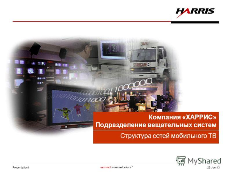Presentation1 assuredcommunications 22-Jun-13 Компания «ХАРРИС» Подразделение вещательных систем Структура сетей мобильного ТВ