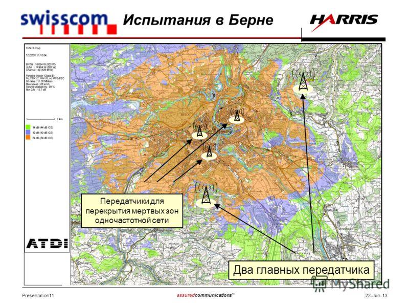 Presentation11 assuredcommunications 22-Jun-13 Два главных передатчика Передатчики для перекрытия мертвых зон одночастотной сети Испытания в Берне