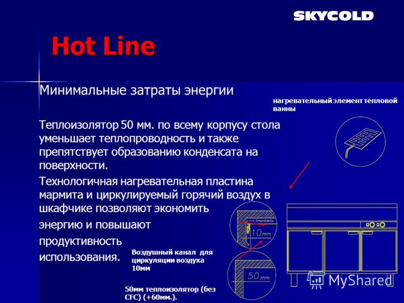 Hot Line Минимальные затраты энергии Теплоизолятор 50 мм. по всему корпусу стола уменьшает теплопроводность и также препятствует образованию конденсата на поверхности. Tехнологичная нагревательная пластина мармита и циркулируемый горячий воздух в шка
