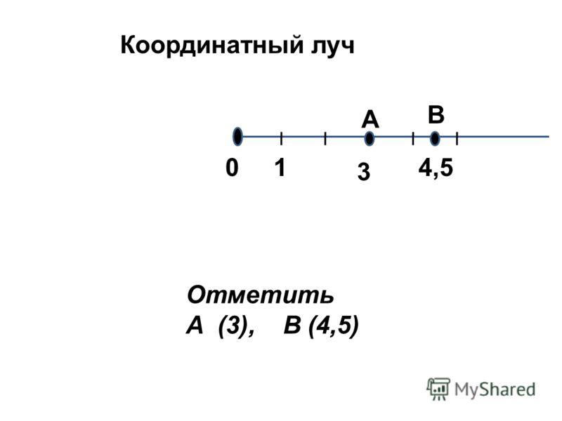 01 Координатный луч Отметить А (3), В (4,5) 3 А В 4,5