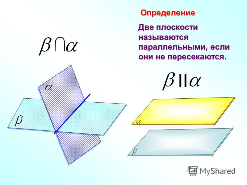 Две плоскости называются параллельными, если они не пересекаются. Определение II