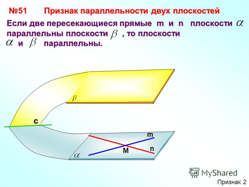 5151 Если две пересекающиеся прямые m и n плоскости параллельны плоскости, то плоскости и параллельны. и параллельны. Признак параллельности двух плоскостей n m M с Признак 2
