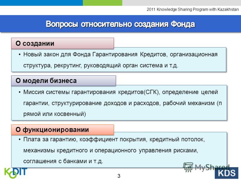 2011 Knowledge Sharing Program with Kazakhstan Новый закон для Фонда Гарантирования Кредитов, организационная структура, рекрутинг, руководящий орган система и т.д. О создании Миссия системы гарантирования кредитов(СГК), определение целей гарантии, с