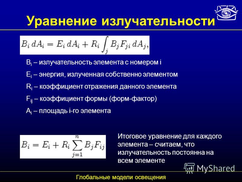 Уравнение излучательности B i – излучательность элемента с номером i E i – энергия, излученная собственно элементом R i – коэффициент отражения данного элемента F ij – коэффициент формы (форм-фактор) A i – площадь i-го элемента Глобальные модели осве