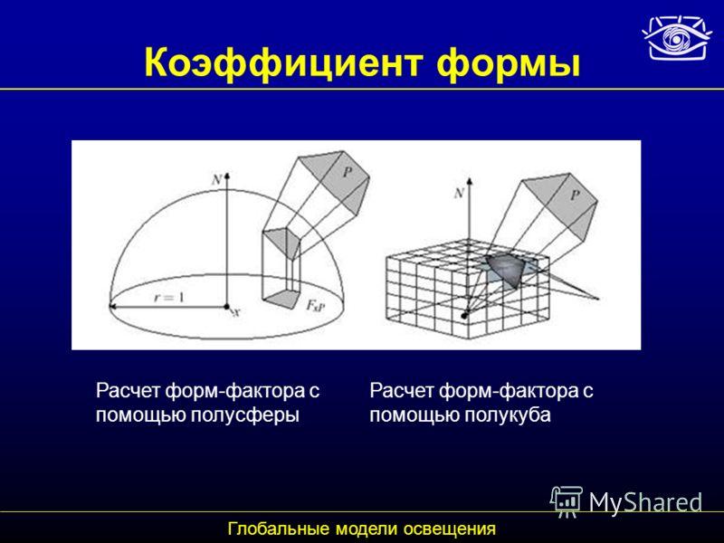 Коэффициент формы Расчет форм-фактора с помощью полусферы Глобальные модели освещения Расчет форм-фактора с помощью полукуба