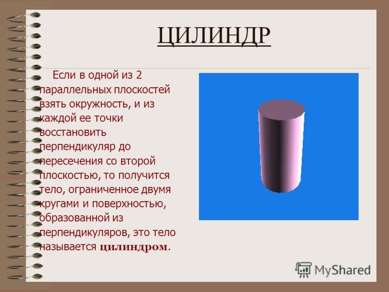Понятие цилиндра.