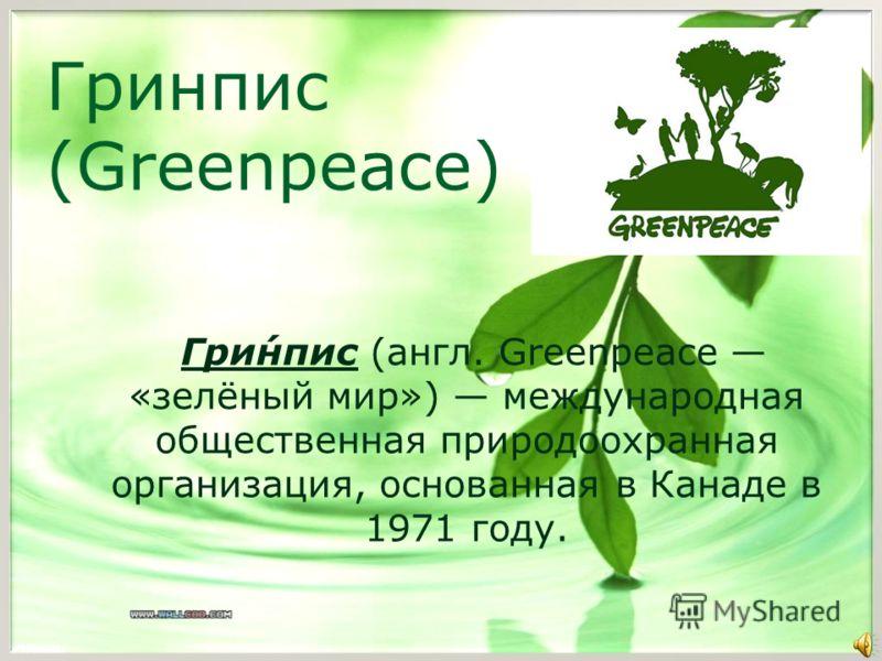 Гринпис (Greenpeace) Гри́нпис (англ. Greenpeace «зелёный мир») международная общественная природоохранная организация, основанная в Канаде в 1971 году.
