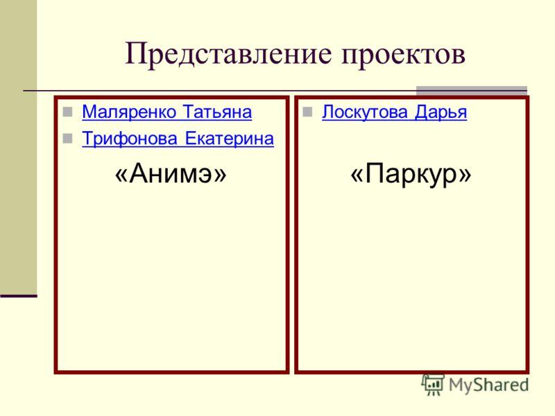 Представление проектов Маляренко Татьяна Трифонова Екатерина «Анимэ» Лоскутова Дарья «Паркур»