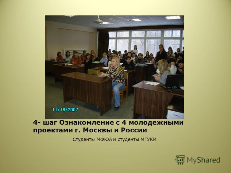 4- шаг Ознакомление с 4 молодежными проектами г. Москвы и России Студенты МФЮА и студенты МГУКИ