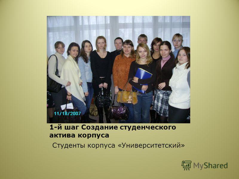 1-й шаг Создание студенческого актива корпуса Студенты корпуса «Университетский»