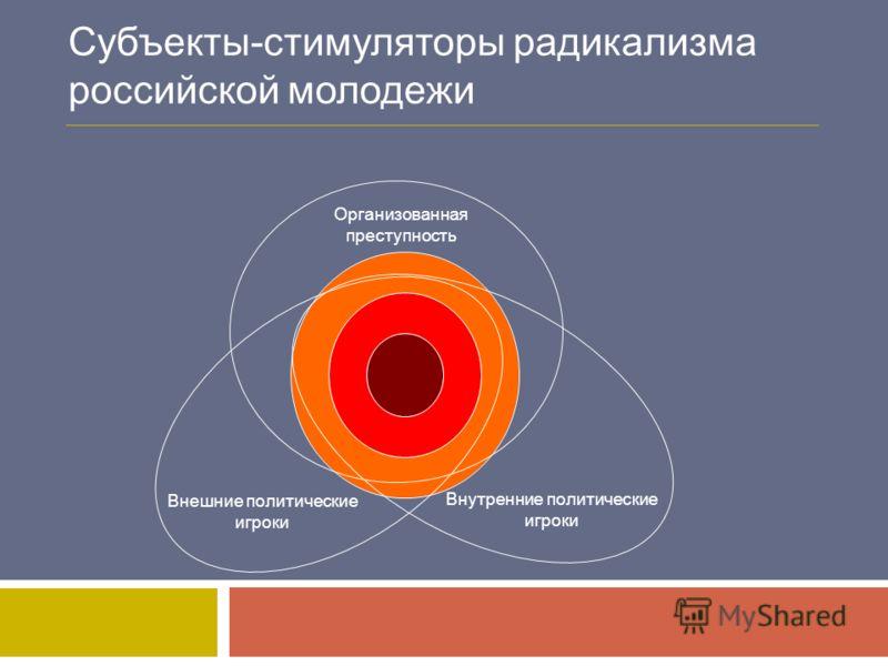 Субъекты-стимуляторы радикализма российской молодежи Внешние политические игроки Внутренние политические игроки Организованная преступность