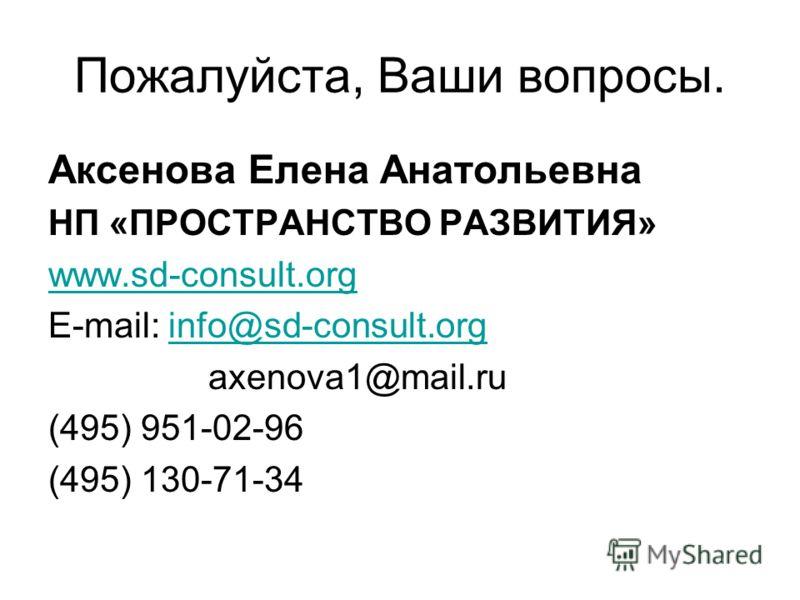 Пожалуйста, Ваши вопросы. Аксенова Елена Анатольевна НП «ПРОСТРАНСТВО РАЗВИТИЯ» www.sd-consult.org E-mail: info@sd-consult.orginfo@sd-consult.org axenova1@mail.ru (495) 951-02-96 (495) 130-71-34
