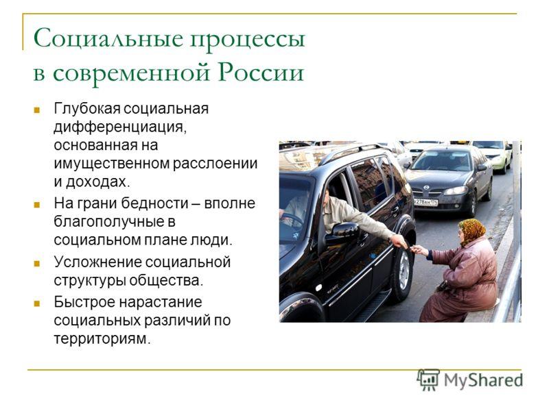 Социальные процессы в современной России Глубокая социальная дифференциация, основанная на имущественном расслоении и доходах. На грани бедности – вполне благополучные в социальном плане люди. Усложнение социальной структуры общества. Быстрое нараста