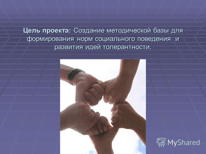 Цель проекта: Создание методической базы для формирования норм социального поведения и развития идей толерантности.