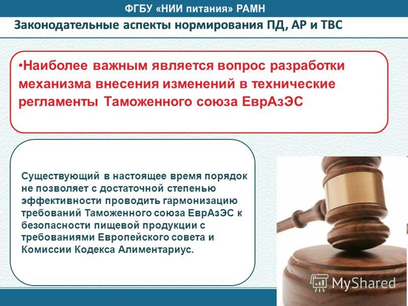 Законодательные аспекты нормирования ПД, АР и ТВС Наиболее важным является вопрос разработки механизма внесения изменений в технические регламенты Таможенного союза ЕврАзЭС Существующий в настоящее время порядок не позволяет с достаточной степенью эф