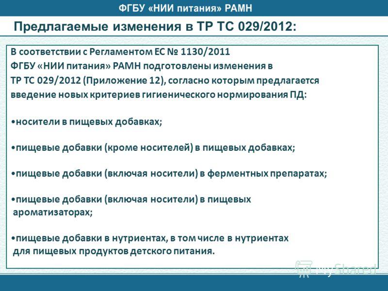 Предлагаемые изменения в ТР ТС 029/2012: В соответствии с Регламентом ЕС 1130/2011 ФГБУ «НИИ питания» РАМН подготовлены изменения в ТР ТС 029/2012 (Приложение 12), согласно которым предлагается введение новых критериев гигиенического нормирования ПД: