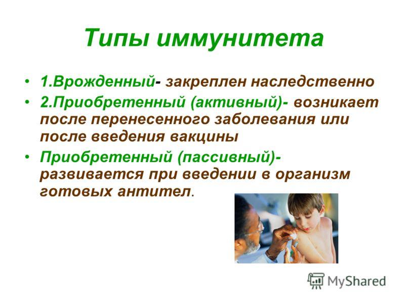 Типы иммунитета 1.Врожденный- закреплен наследственно 2.Приобретенный (активный)- возникает после перенесенного заболевания или после введения вакцины Приобретенный (пассивный)- развивается при введении в организм готовых антител.