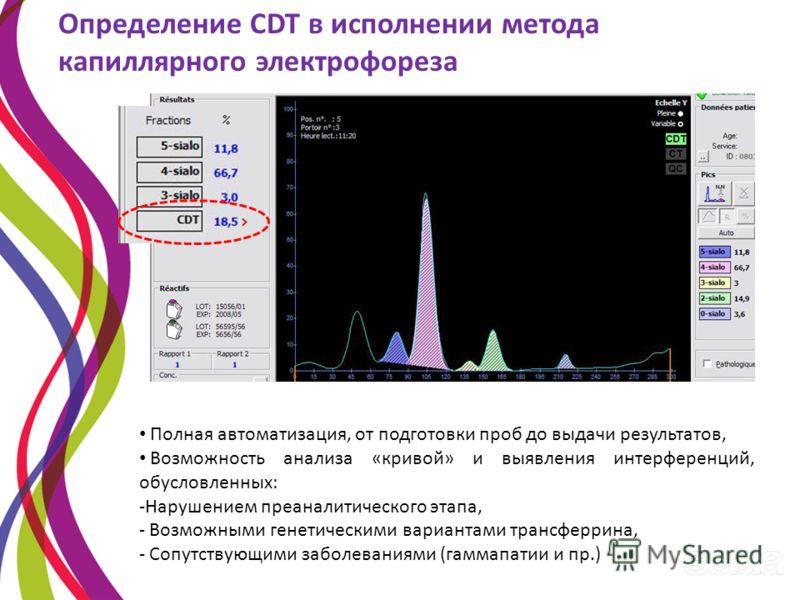 Определение CDT в исполнении метода капиллярного электрофореза Полная автоматизация, от подготовки проб до выдачи результатов, Возможность анализа «кривой» и выявления интерференций, обусловленных: -Нарушением преаналитического этапа, - Возможными ге