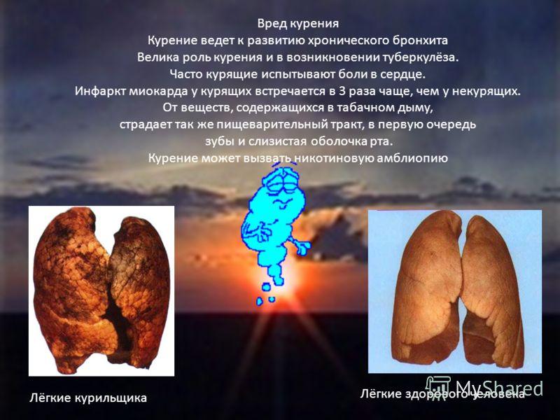 Вред курения Курение ведет к развитию хронического бронхита Велика роль курения и в возникновении туберкулёза. Часто курящие испытывают боли в сердце. Инфаркт миокарда у курящих встречается в 3 раза чаще, чем у некурящих. От веществ, содержащихся в т