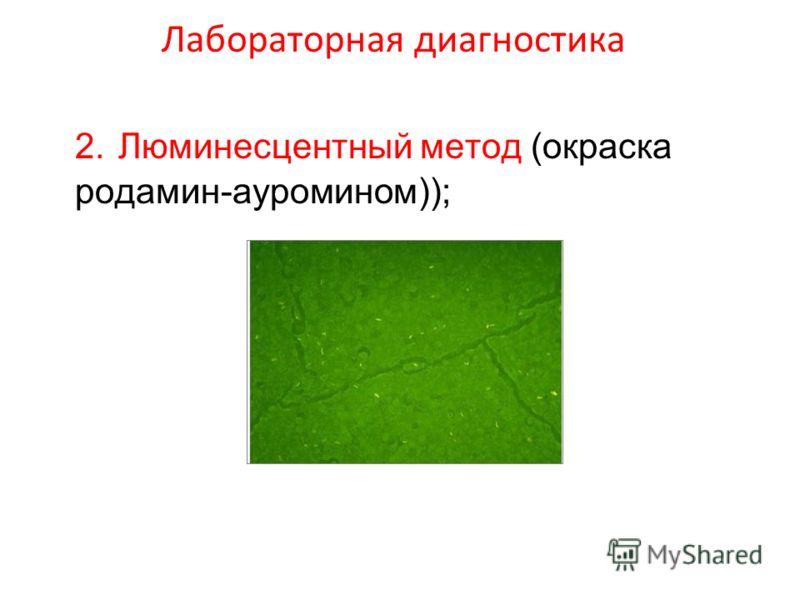 Лабораторная диагностика 2. Люминесцентный метод (окраска родамин-ауромином));