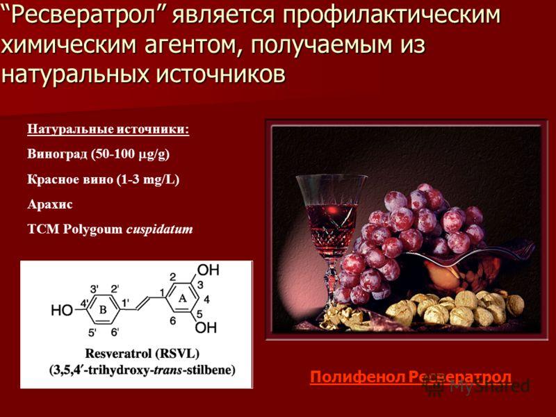 Вино поможет справиться с лишним весом Натуральные источники: Виноград (50-100 g/g) Красное вино (1-3 mg/L) Арахис TCM Polygoum cuspidatum Полифенол Ресвератрол Ресвератрол является профилактическим химическим агентом, получаемым из натуральных источ
