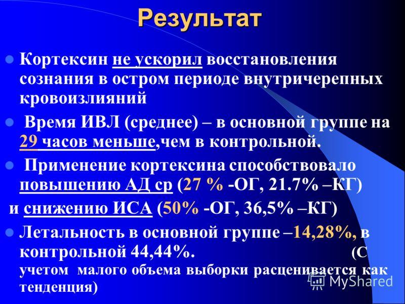 Показатели динамики процесса Оценка при поступлении и через 5 дней. Уровень сознания по шкале Шахновича (С) Индекс синусовой аритмии (ИСА) Среднее артериальное давление (Адср) Время ИВЛ (часы) Летальность
