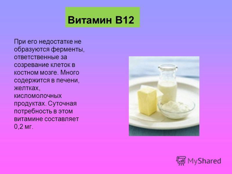 Витамин В12 При его недостатке не образуются ферменты, ответственные за созревание клеток в костном мозге. Много содержится в печени, желтках, кисломолочных продуктах. Суточная потребность в этом витамине составляет 0,2 мг.