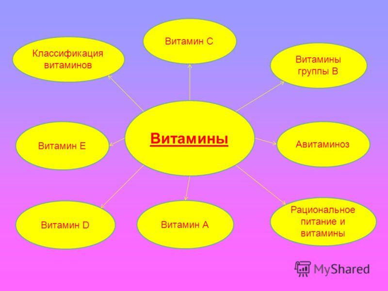 Витамины Классификация витаминов Витамин С Витамины группы В Витамин А Витамин D Витамин Е Авитаминоз Рациональное питание и витамины