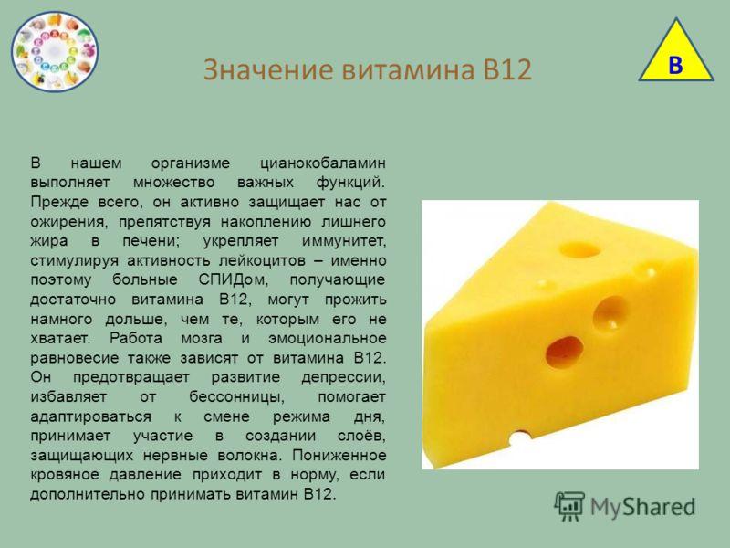 Значение витамина В12 В нашем организме цианокобаламин выполняет множество важных функций. Прежде всего, он активно защищает нас от ожирения, препятствуя накоплению лишнего жира в печени; укрепляет иммунитет, стимулируя активность лейкоцитов – именно