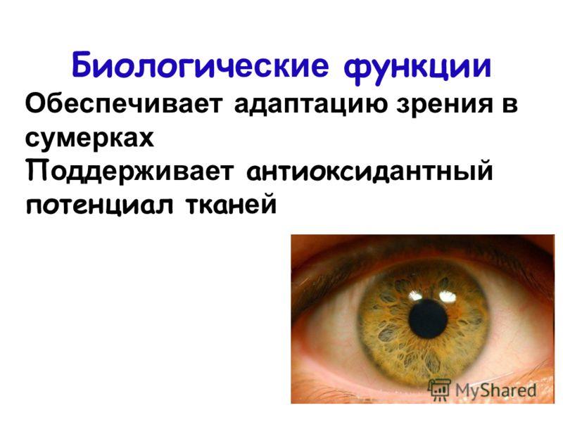 Биологич еские функци и Обеспечивает адаптацию зрения в сумерках П оддерживает антиоксид антный потенциал ткан ей