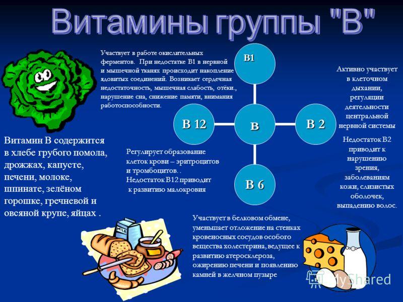в В 2 В 6 В 12 Витамин В содержится в хлебе грубого помола, дрожжах, капусте, печени, молоке, шпинате, зелёном горошке, гречневой и овсяной крупе, яйцах. В1 Активно участвует в клеточном дыхании, регуляции деятельности центральной нервной системы Нед