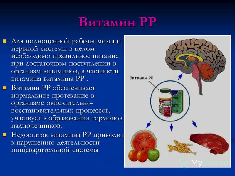 Витамин РР Для полноценной работы мозга и нервной системы в целом необходимо правильное питание при достаточном поступлении в организм витаминов, в частности витамина витамина РР. Для полноценной работы мозга и нервной системы в целом необходимо прав