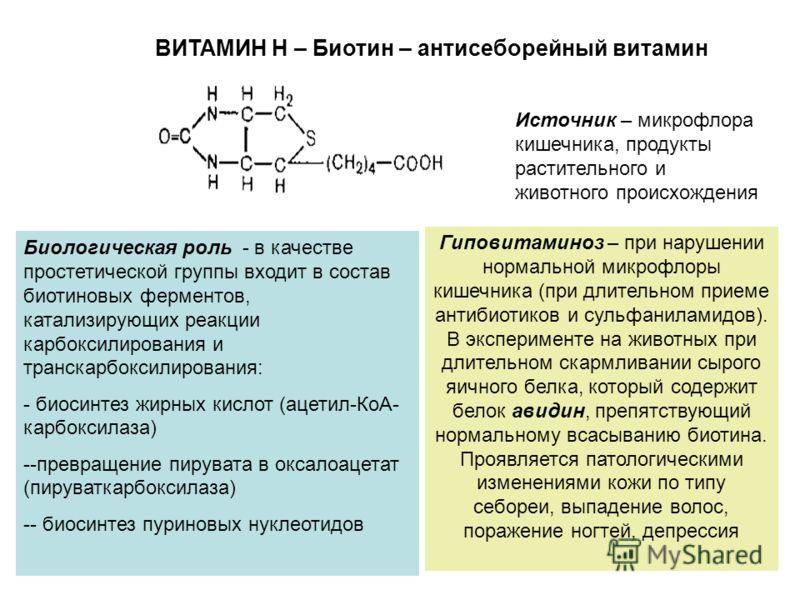 ВИТАМИН Н – Биотин – антисеборейный витамин Биологическая роль - в качестве простетической группы входит в состав биотиновых ферментов, катализирующих реакции карбоксилирования и транскарбоксилирования: - биосинтез жирных кислот (ацетил-КоА- карбокси