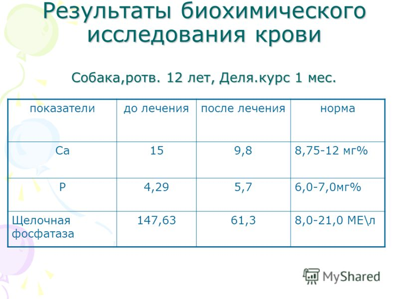 Результаты биохимического исследования крови Собака,ротв. 12 лет, Деля.курс 1 мес. показателидо леченияпосле лечениянорма Са159,88,75-12 мг% Р4,295,76,0-7,0мг% Щелочная фосфатаза 147,6361,38,0-21,0 МЕ\л