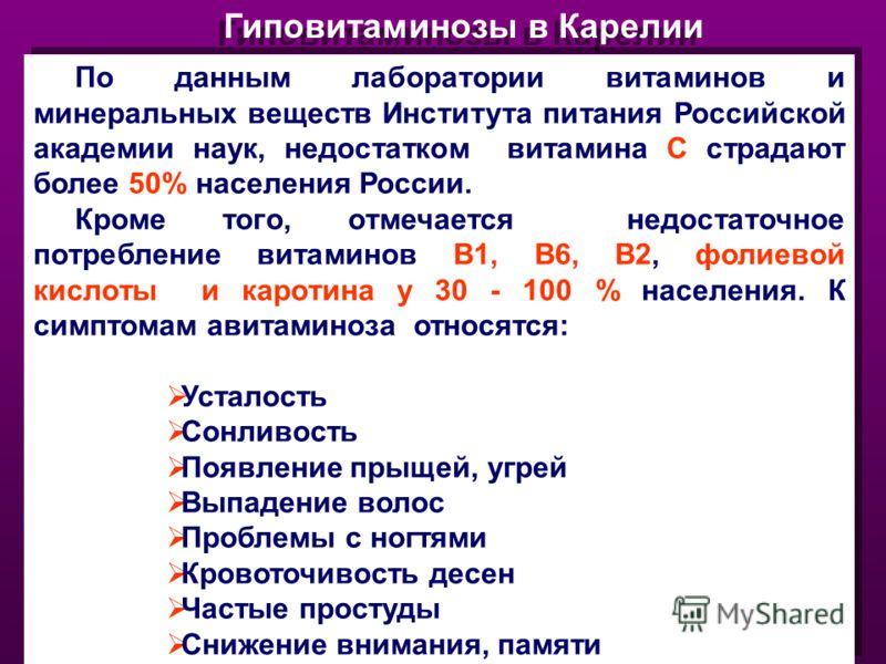 Гиповитаминозы в Карелии По данным лаборатории витаминов и минеральных веществ Института питания Российской академии наук, недостатком витамина С страдают более 50% населения России. Кроме того, отмечается недостаточное потребление витаминов В1, В6,
