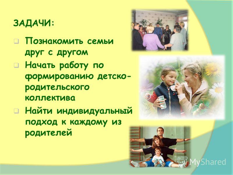 ЗАДАЧИ: Познакомить семьи друг с другом Начать работу по формированию детско- родительского коллектива Найти индивидуальный подход к каждому из родителей