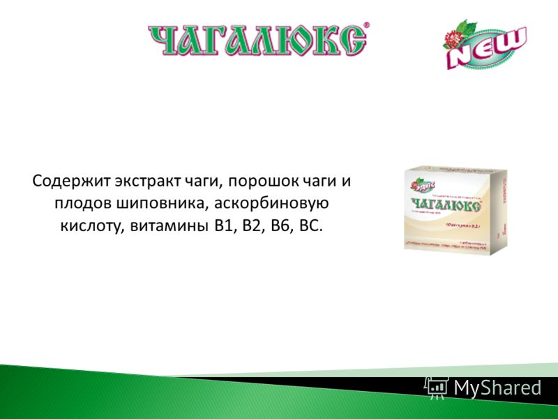 Содержит экстракт чаги, порошок чаги и плодов шиповника, аскорбиновую кислоту, витамины В1, В2, В6, ВС.