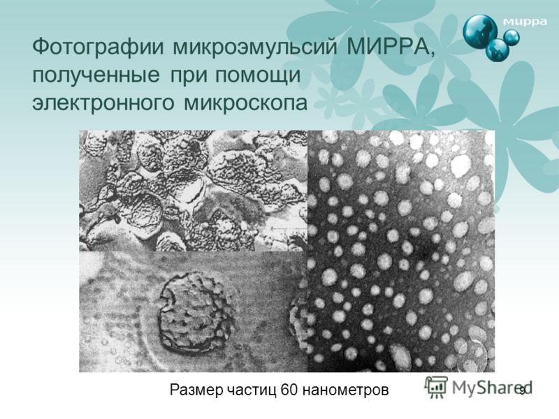9 Фотографии микроэмульсий МИРРА, полученные при помощи электронного микроскопа Размер частиц 60 нанометров