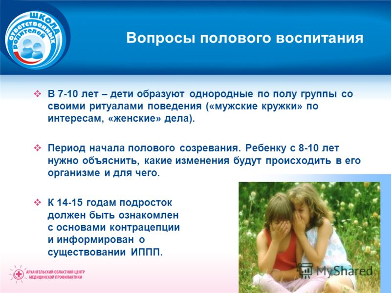 В 7-10 лет – дети образуют однородные по полу группы со своими ритуалами поведения («мужские кружки» по интересам, «женские» дела). Период начала полового созревания. Ребенку с 8-10 лет нужно объяснить, какие изменения будут происходить в его организ